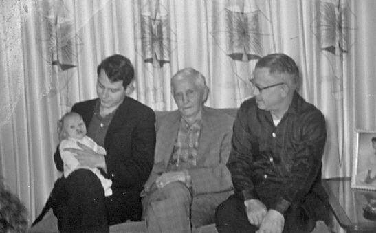 Four generations: Baby Michael, Terry, Grandpa, and Steve.